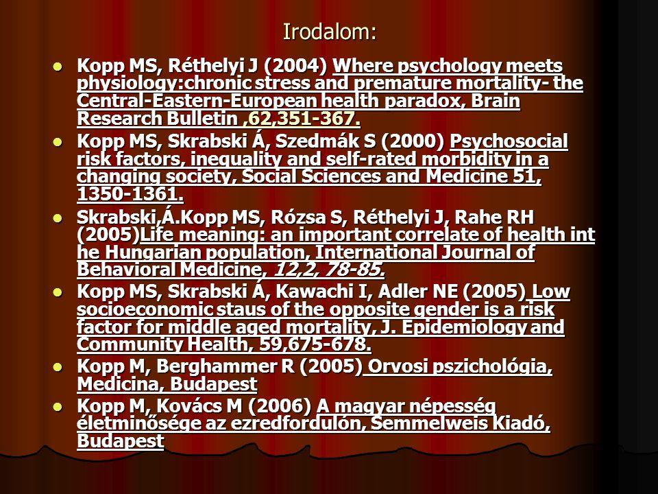 Irodalom: Kopp MS, Réthelyi J (2004) Where psychology meets physiology:chronic stress and premature mortality- the Central-Eastern-European health par