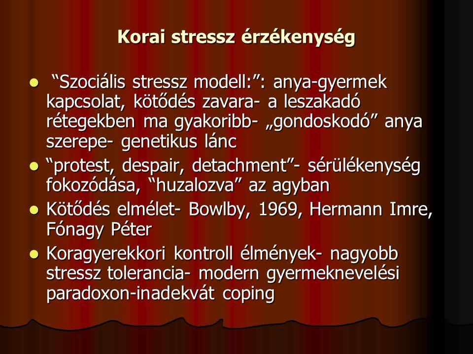 """Korai stressz érzékenység """"Szociális stressz modell:"""": anya-gyermek kapcsolat, kötődés zavara- a leszakadó rétegekben ma gyakoribb- """"gondoskodó"""" anya"""