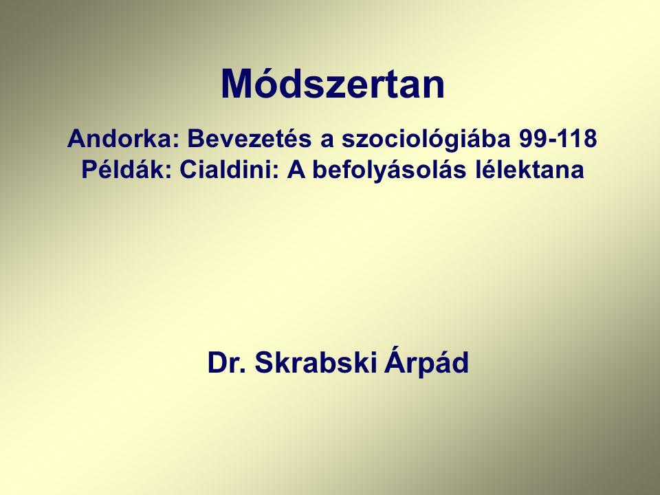 Módszertan Andorka: Bevezetés a szociológiába 99-118 Példák: Cialdini: A befolyásolás lélektana Dr. Skrabski Árpád