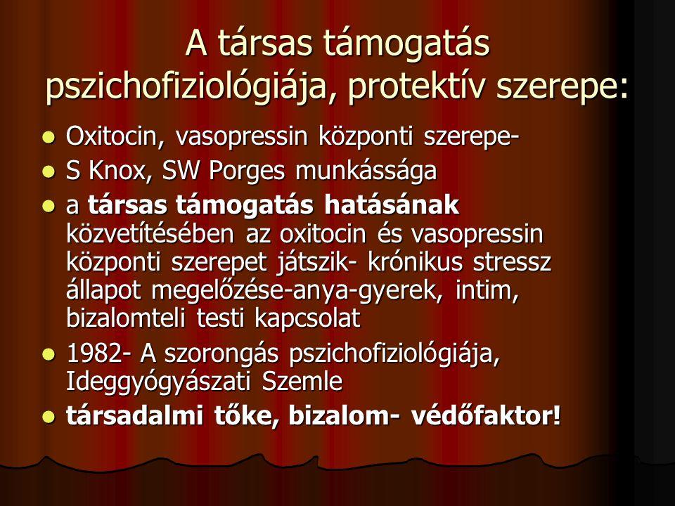 A társas támogatás pszichofiziológiája, protektív szerepe: Oxitocin, vasopressin központi szerepe- Oxitocin, vasopressin központi szerepe- S Knox, SW