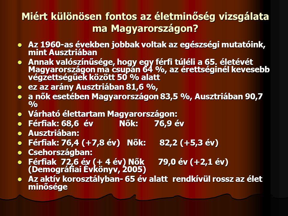 Miért különösen fontos az életminőség vizsgálata ma Magyarországon? Az 1960-as években jobbak voltak az egészségi mutatóink, mint Ausztriában Az 1960-