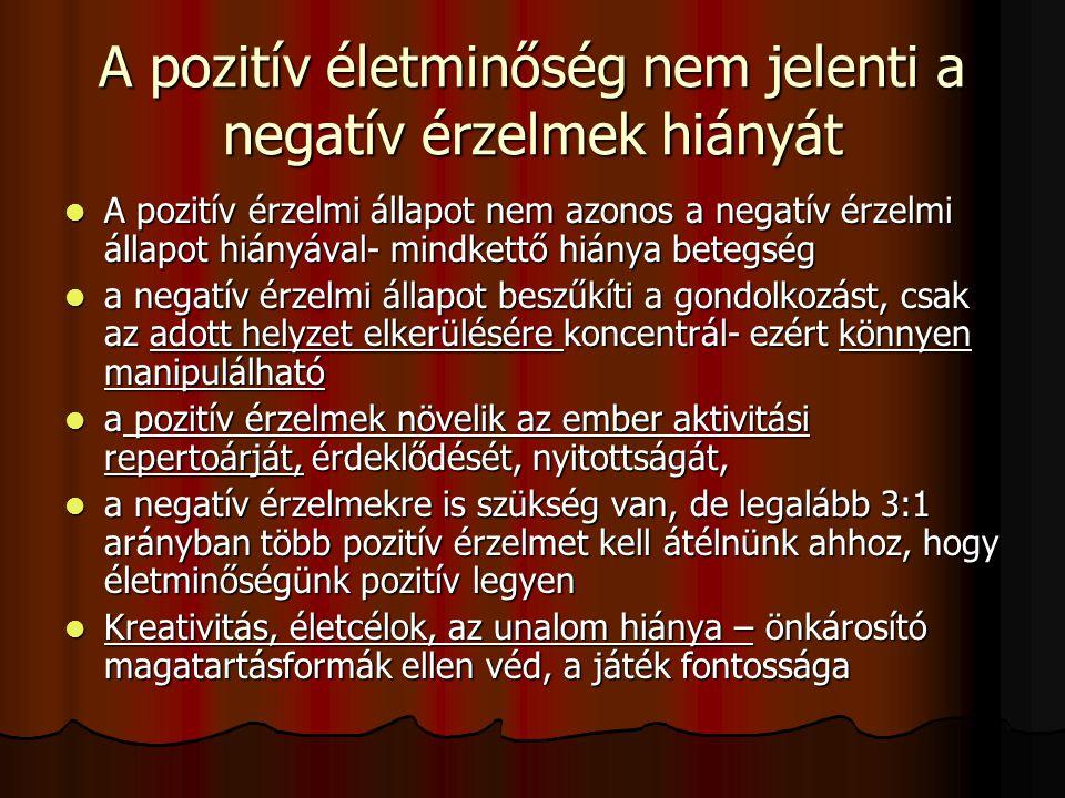 A pozitív életminőség nem jelenti a negatív érzelmek hiányát A pozitív érzelmi állapot nem azonos a negatív érzelmi állapot hiányával- mindkettő hiány