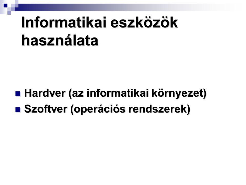 Informatikai eszközök használata Hardver (az informatikai környezet) Hardver (az informatikai környezet) Szoftver (operációs rendszerek) Szoftver (ope