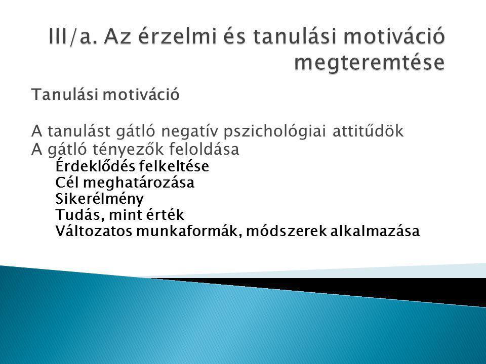 Tanulási motiváció A tanulást gátló negatív pszichológiai attitűdök A gátló tényezők feloldása Érdeklődés felkeltése Cél meghatározása Sikerélmény Tud