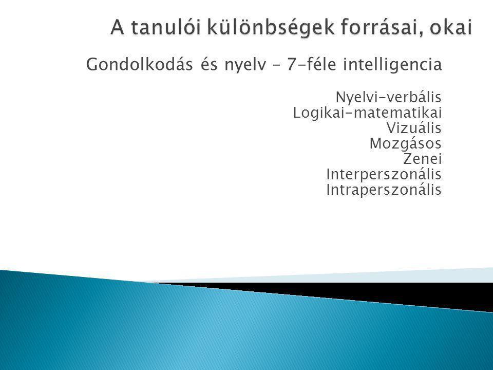 Gondolkodás és nyelv – 7-féle intelligencia Nyelvi-verbális Logikai-matematikai Vizuális Mozgásos Zenei Interperszonális Intraperszonális