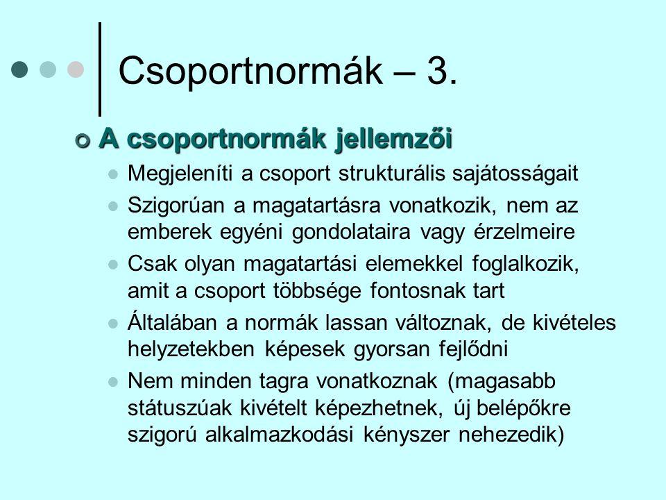 Csoportnormák – 4.