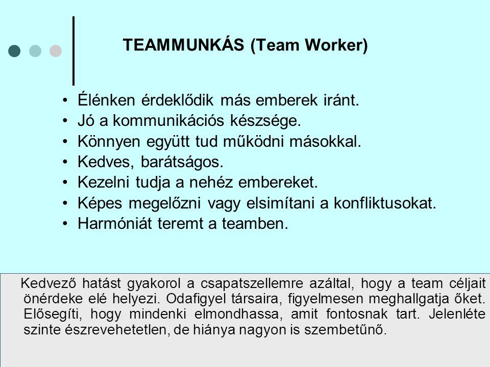 A team számára hasznos személyiségek TÍPUSJELLEMZŐIELŐNYÖS TULAJDONSÁGAI ELNÉZHETŐ HIBÁI Vállalatépítő (VÁ) Formáló  konzervatív,  kötelességtudó,  kiszámítható  jó szervező,  gyakorlatias gondolkodású,  kemény munkához szokott,  fegyelmezett  rugalmatlan,  kevéssé fogékony az új ötletek iránt Elnök (EL) Vezér  nyugodt,  biztos magában,  kellő önuralommal rendelkezik  képes mindenkit előítéletek nélkül és pusztán érdemei alapján értékelni,  célorientált  átlagosan kreatív és intelligens Serkentő (SE) Szervező  ideges,  aktív,  dinamikus  küzd a cselekvésképtelenség, a hatékonyság hiánya, az önelégültség, az önáltatás ellen  ingerültségre, türelmetlenségre, és erőszakra hajlamos Palánta (Ötletgyártó) (PA) Ötlet-ember  individualista,  komoly gondolkodású,  új utakat keres  a szellem embere, képzelet gazdag,  nagy tudású,  kiváló értelmi képességekkel rendelkezik  a fellegekben jár,  nem törődik a részletekkel és a formaságokkal