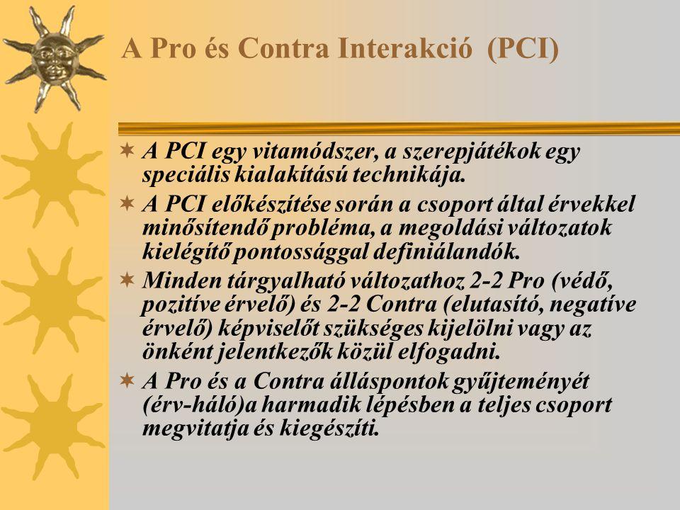 A Pro és Contra Interakció (PCI)  A PCI egy vitamódszer, a szerepjátékok egy speciális kialakítású technikája.  A PCI előkészítése során a csoport á