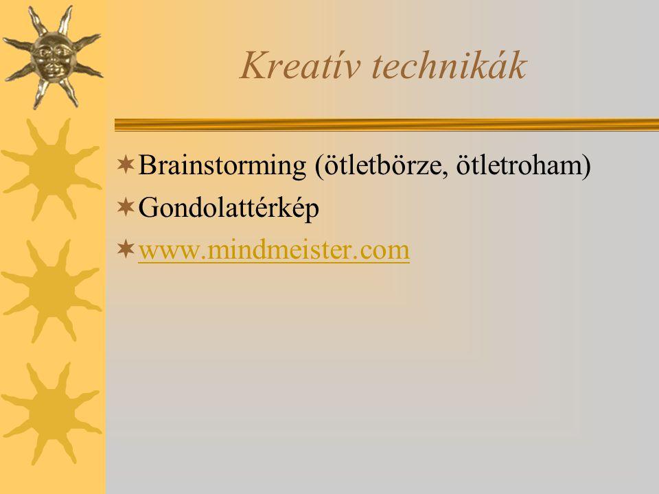 Kreatív technikák  Brainstorming (ötletbörze, ötletroham)  Gondolattérkép  www.mindmeister.com www.mindmeister.com
