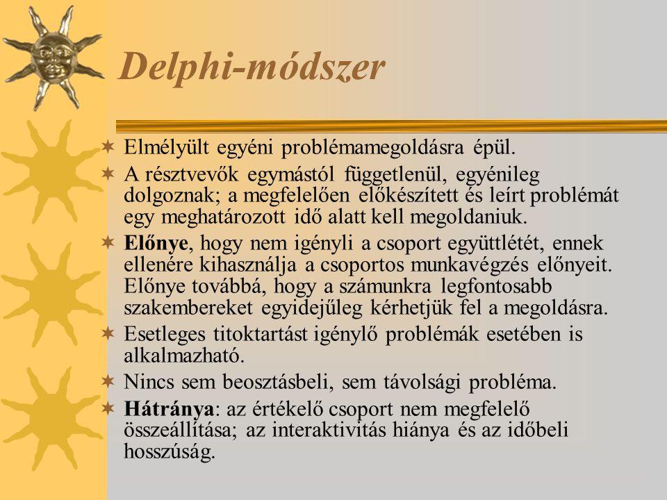Delphi-módszer  Elmélyült egyéni problémamegoldásra épül.  A résztvevők egymástól függetlenül, egyénileg dolgoznak; a megfelelően előkészített és le