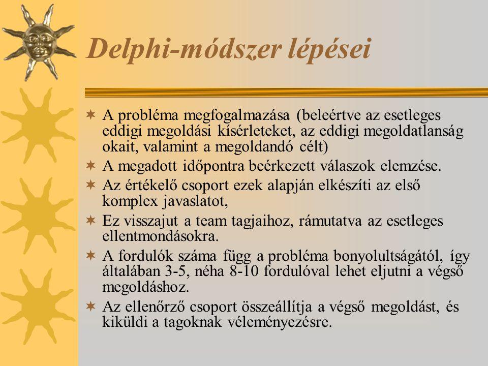 Delphi-módszer lépései  A probléma megfogalmazása (beleértve az esetleges eddigi megoldási kísérleteket, az eddigi megoldatlanság okait, valamint a m