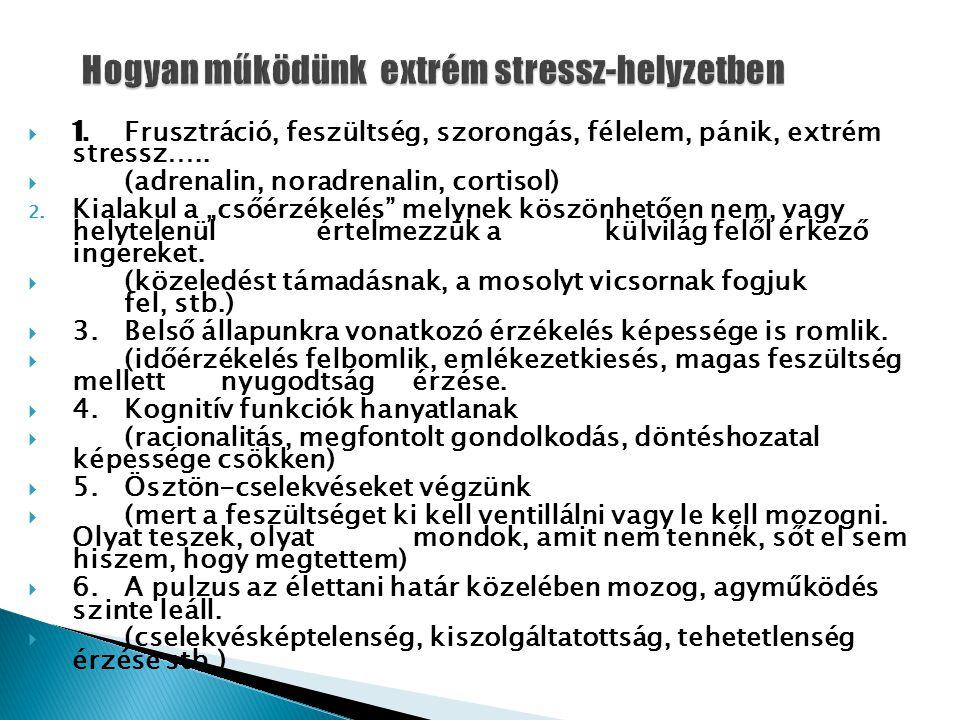  1. Frusztráció, feszültség, szorongás, félelem, pánik, extrém stressz…..