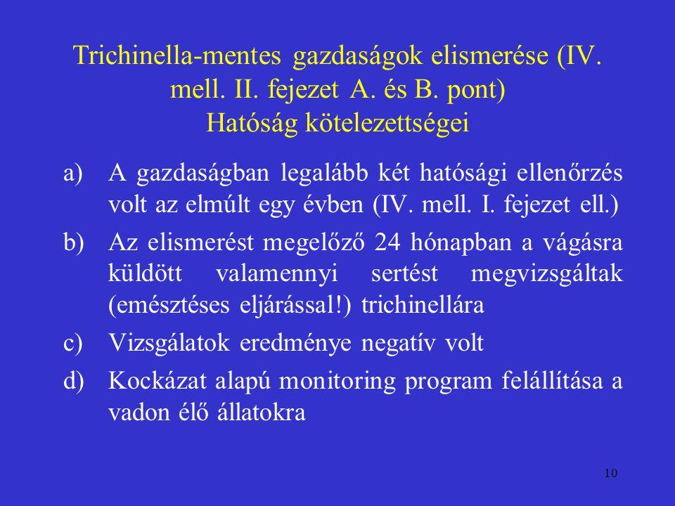10 Trichinella-mentes gazdaságok elismerése (IV. mell. II. fejezet A. és B. pont) Hatóság kötelezettségei a)A gazdaságban legalább két hatósági ellenő