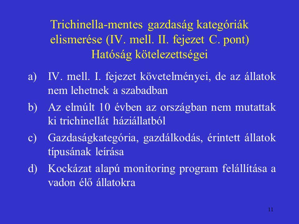 11 Trichinella-mentes gazdaság kategóriák elismerése (IV. mell. II. fejezet C. pont) Hatóság kötelezettségei a)IV. mell. I. fejezet követelményei, de