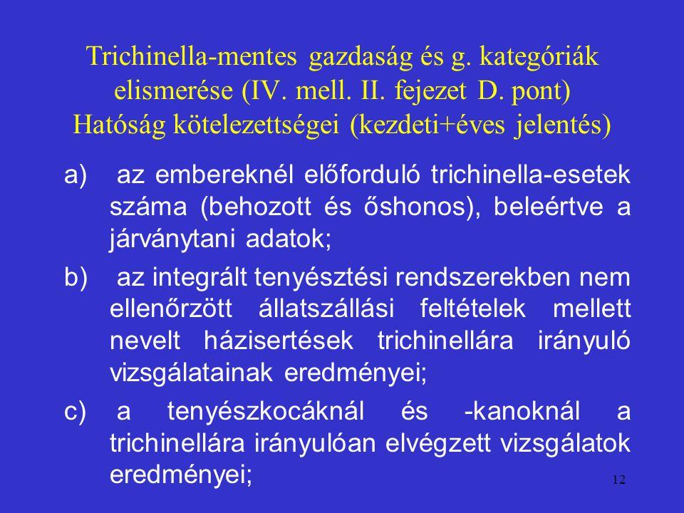 12 Trichinella-mentes gazdaság és g. kategóriák elismerése (IV. mell. II. fejezet D. pont) Hatóság kötelezettségei (kezdeti+éves jelentés) a) az ember