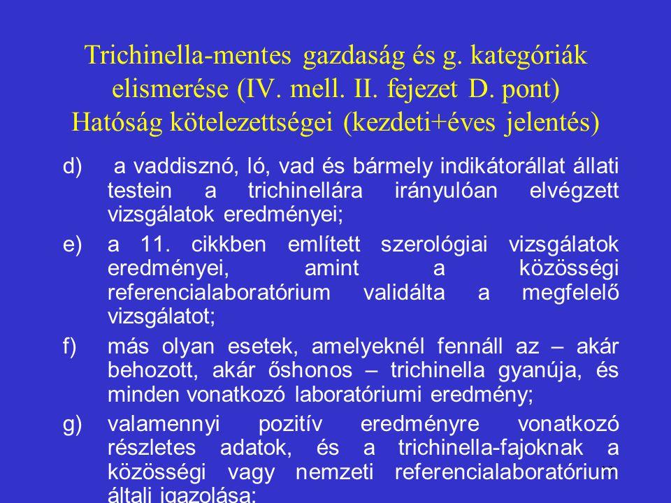 13 Trichinella-mentes gazdaság és g. kategóriák elismerése (IV. mell. II. fejezet D. pont) Hatóság kötelezettségei (kezdeti+éves jelentés) d) a vaddis