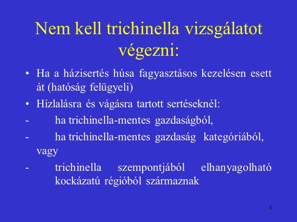 4 Nem kell trichinella vizsgálatot végezni: Ha a házisertés húsa fagyasztásos kezelésen esett át (hatóság felügyeli) Hízlalásra és vágásra tartott ser