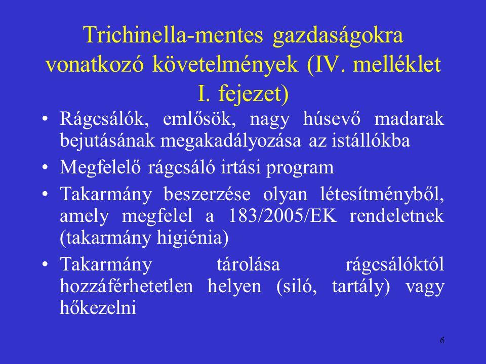 6 Trichinella-mentes gazdaságokra vonatkozó követelmények (IV. melléklet I. fejezet) Rágcsálók, emlősök, nagy húsevő madarak bejutásának megakadályozá