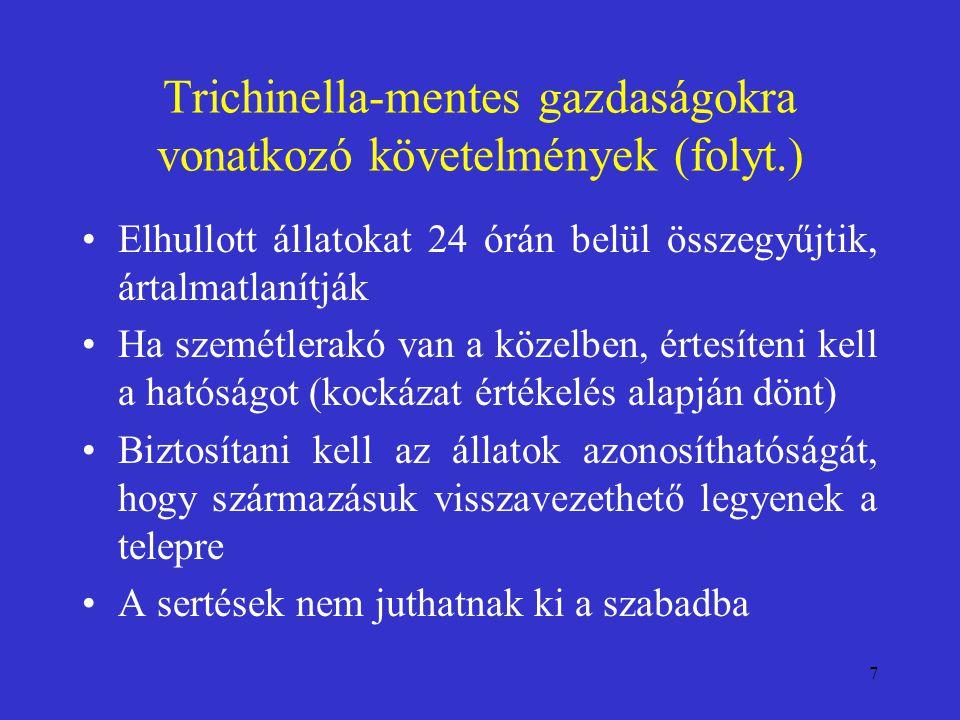 7 Trichinella-mentes gazdaságokra vonatkozó követelmények (folyt.) Elhullott állatokat 24 órán belül összegyűjtik, ártalmatlanítják Ha szemétlerakó va