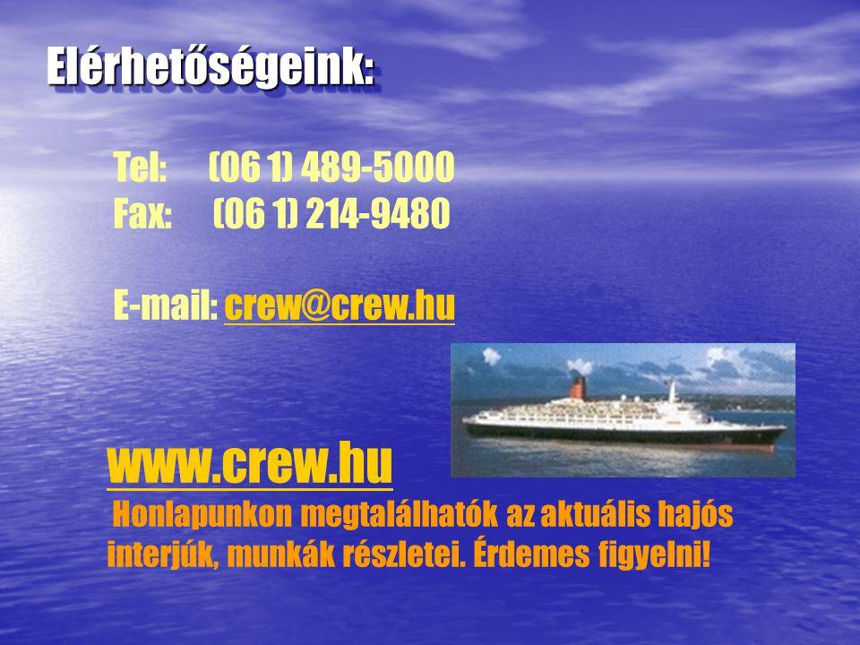 Elérhetőségeink:Elérhetőségeink: Tel: (06 1) 489-5000 Fax: (06 1) 214-9480 E-mail: crew@crew.hucrew@crew.hu www.crew.hu Honlapunkon megtalálhatók az aktuális hajós interjúk, munkák részletei.
