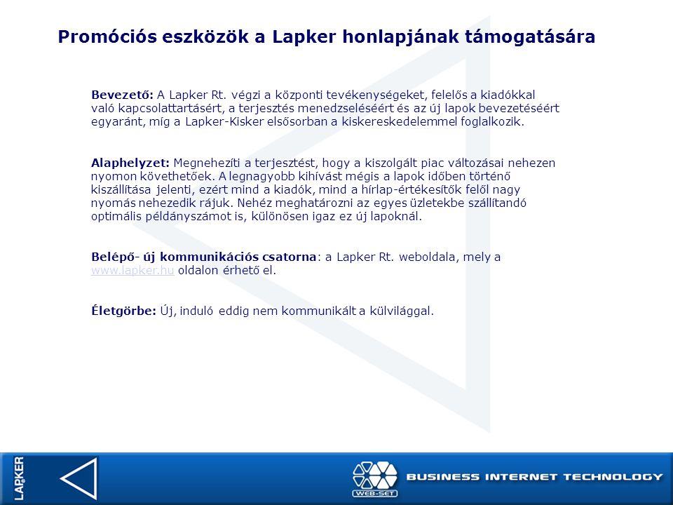 Promóciós eszközök a Lapker honlapjának támogatására Bevezető: A Lapker Rt. végzi a központi tevékenységeket, felelős a kiadókkal való kapcsolattartás