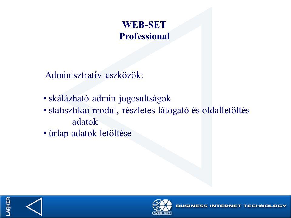 WEB-SET Professional Adminisztratív eszközök: skálázható admin jogosultságok statisztikai modul, részletes látogató és oldalletöltés adatok űrlap adat