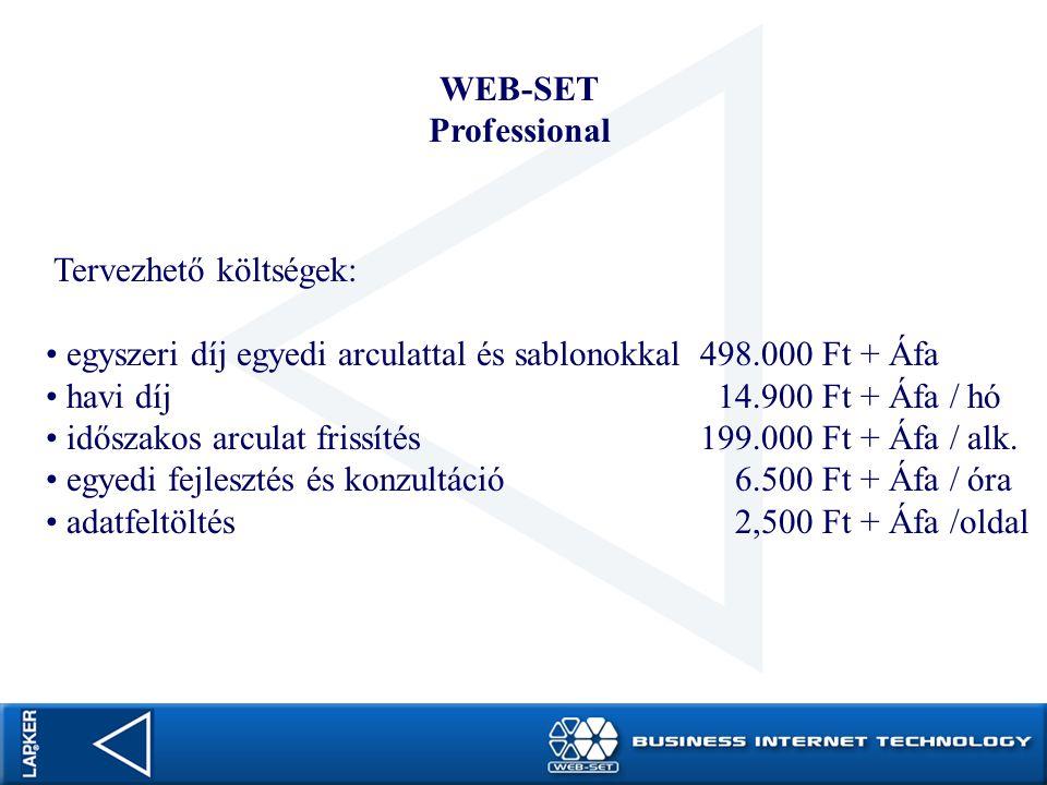 WEB-SET Professional Egyszeri díj egyedi arculattal és sablonokkal 498.000 Ft + Áfa WEB-SET Professional belépés és installálás Domain átvétel vagy regisztrálás Egyedi arculat kialakítása Oktatás személyesen, CD és on-line help mailek kialakítása 20 oldal feltöltése tartalommal
