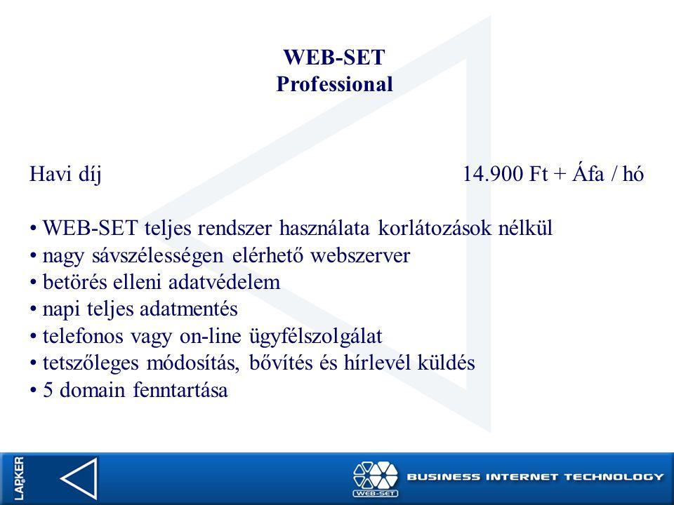 WEB-SET Professional Havi díj 14.900 Ft + Áfa / hó WEB-SET teljes rendszer használata korlátozások nélkül nagy sávszélességen elérhető webszerver betö