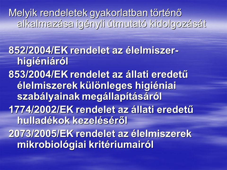 Melyik rendeletek gyakorlatban történő alkalmazása igényli útmutató kidolgozását 852/2004/EK rendelet az élelmiszer- higiéniáról 853/2004/EK rendelet az állati eredetű élelmiszerek különleges higiéniai szabályainak megállapításáról 1774/2002/EK rendelet az állati eredetű hulladékok kezeléséről 2073/2005/EK rendelet az élelmiszerek mikrobiológiai kritériumairól