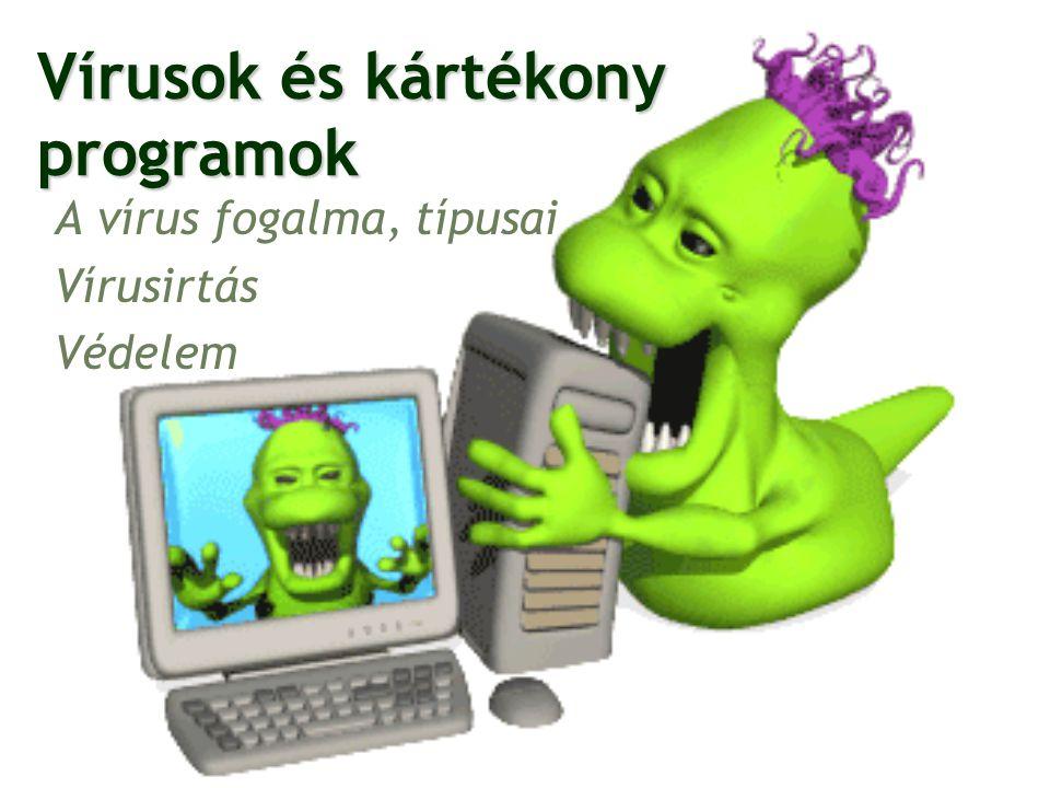 A vírus fogalma A vírus önreprodukáló, károkozó program, amely beépül más állományokba Károkozás: Gép feltűnő lelassulása Fájlok törlése, használhatatlanná tétele, módosítása Ismeretlen programok inulása Gép váratlan leállása Nagy e-mail forgalom, ami terheli a levelezőszervereket Személyes információk megszerzése 2