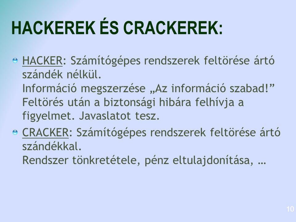 """HACKEREK ÉS CRACKEREK: HACKER: Számítógépes rendszerek feltörése ártó szándék nélkül. Információ megszerzése """"Az információ szabad!"""" Feltörés után a b"""
