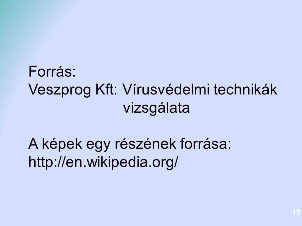 13 Forrás: Veszprog Kft: Vírusvédelmi technikák vizsgálata A képek egy részének forrása: http://en.wikipedia.org/ 13