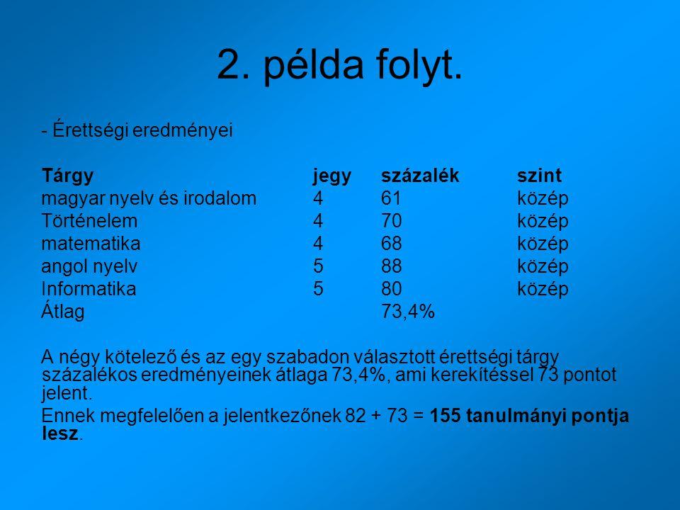 2. példa folyt. - Érettségi eredményei Tárgyjegyszázalékszint magyar nyelv és irodalom461közép Történelem470közép matematika 468közép angol nyelv588kö