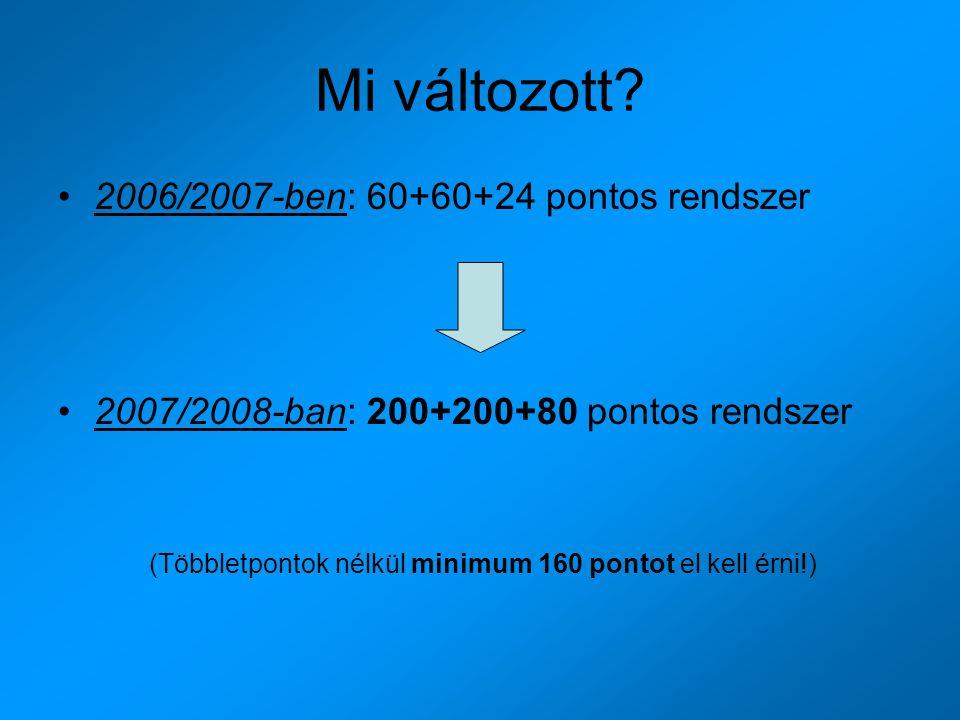 Mi változott? 2006/2007-ben: 60+60+24 pontos rendszer 2007/2008-ban: 200+200+80 pontos rendszer (Többletpontok nélkül minimum 160 pontot el kell érni!