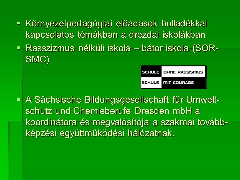  Környezetpedagógiai előadások hulladékkal kapcsolatos témákban a drezdai iskolákban  Rasszizmus nélküli iskola – bátor iskola (SOR- SMC)  A Sächsische Bildungsgesellschaft für Umwelt- schutz und Chemieberufe Dresden mbH a koordinátora és megvalósítója a szakmai tovább- képzési együttműködési hálózatnak.