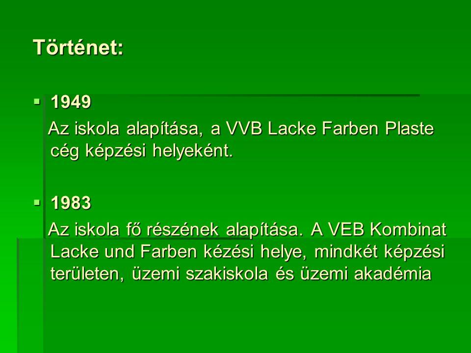 Történet:  1949 Az iskola alapítása, a VVB Lacke Farben Plaste cég képzési helyeként.
