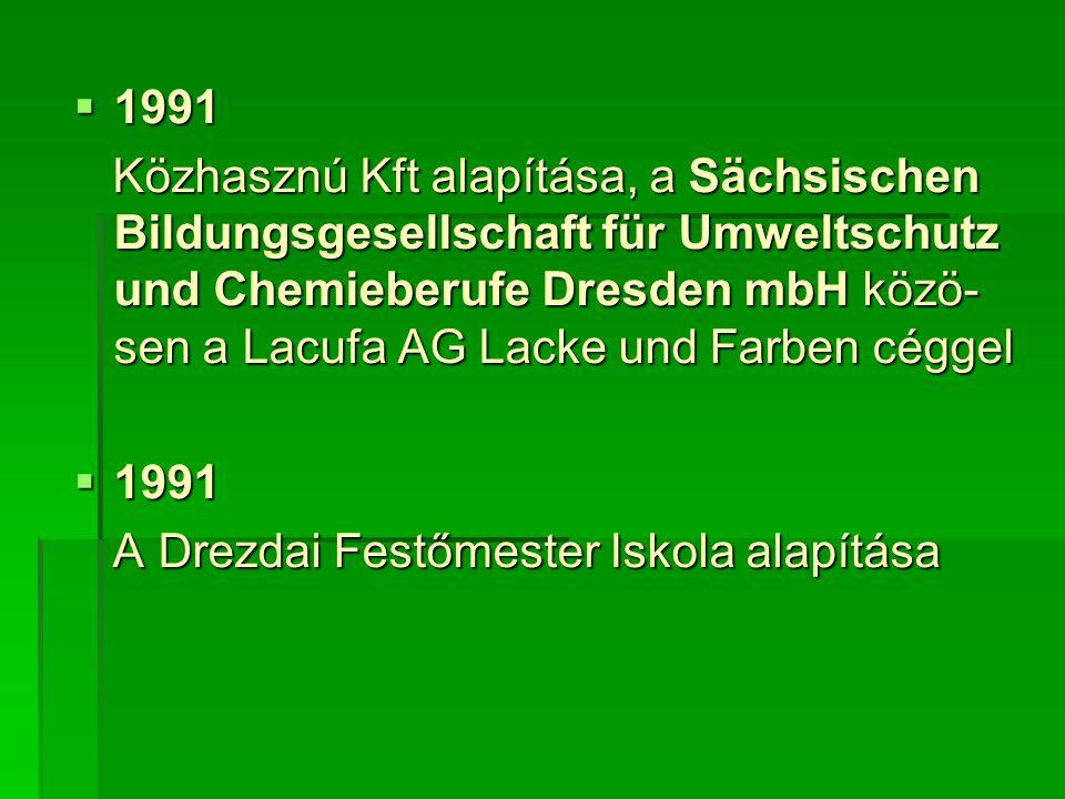  1991 Közhasznú Kft alapítása, a Sächsischen Bildungsgesellschaft für Umweltschutz und Chemieberufe Dresden mbH közö- sen a Lacufa AG Lacke und Farben céggel Közhasznú Kft alapítása, a Sächsischen Bildungsgesellschaft für Umweltschutz und Chemieberufe Dresden mbH közö- sen a Lacufa AG Lacke und Farben céggel  1991 A Drezdai Festőmester Iskola alapítása A Drezdai Festőmester Iskola alapítása