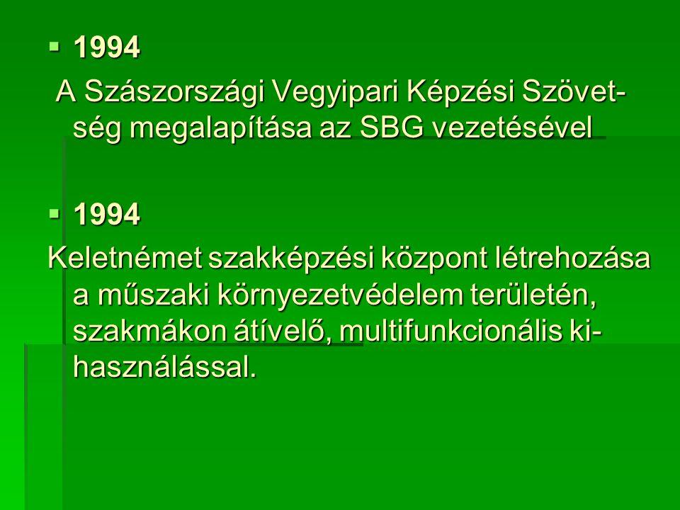  1994 A Szászországi Vegyipari Képzési Szövet- ség megalapítása az SBG vezetésével A Szászországi Vegyipari Képzési Szövet- ség megalapítása az SBG vezetésével  1994 Keletnémet szakképzési központ létrehozása a műszaki környezetvédelem területén, szakmákon átívelő, multifunkcionális ki- használással.
