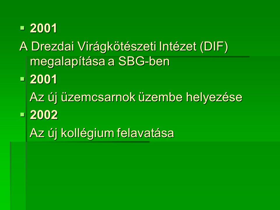 2001 A Drezdai Virágkötészeti Intézet (DIF) megalapítása a SBG-ben  2001 Az új üzemcsarnok üzembe helyezése Az új üzemcsarnok üzembe helyezése  2002 Az új kollégium felavatása Az új kollégium felavatása