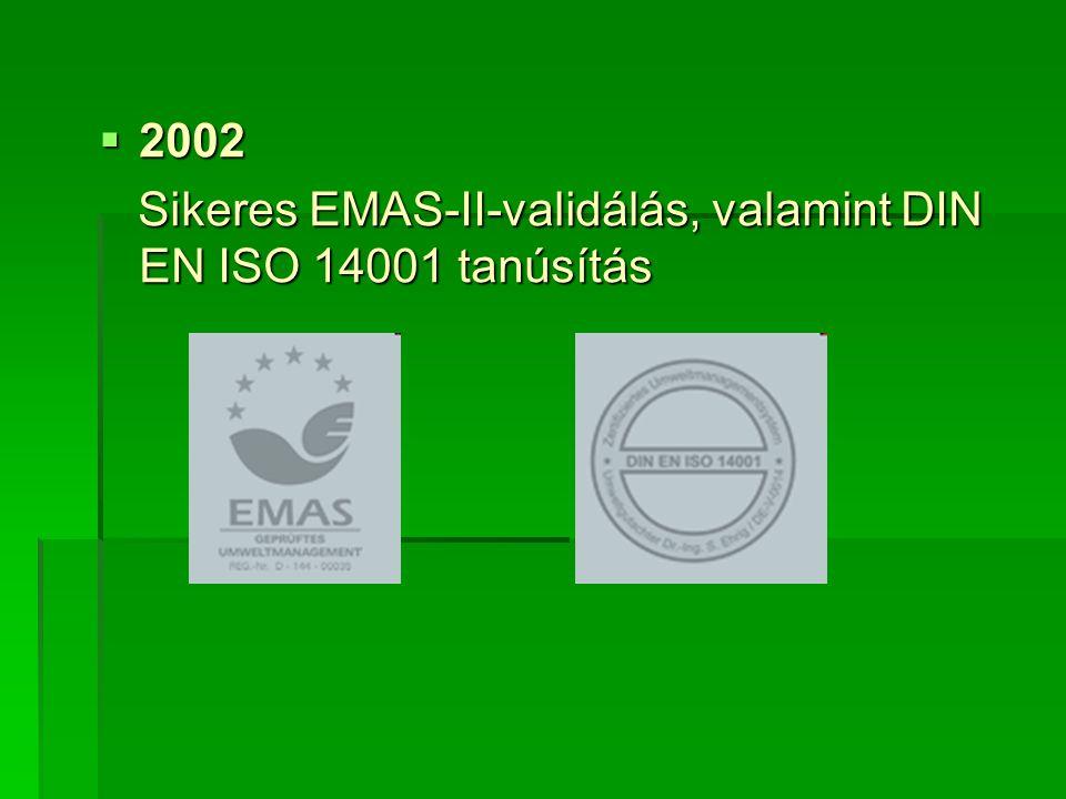  2002 Sikeres EMAS-II-validálás, valamint DIN EN ISO 14001 tanúsítás Sikeres EMAS-II-validálás, valamint DIN EN ISO 14001 tanúsítás