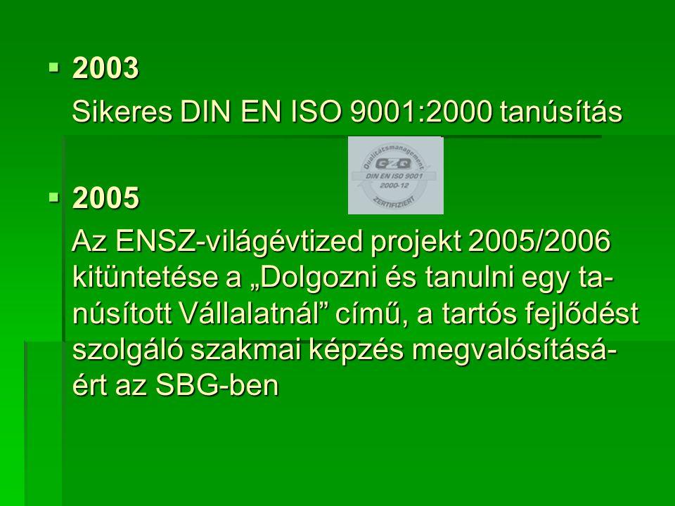 """ 2003 Sikeres DIN EN ISO 9001:2000 tanúsítás Sikeres DIN EN ISO 9001:2000 tanúsítás  2005 Az ENSZ-világévtized projekt 2005/2006 kitüntetése a """"Dolgozni és tanulni egy ta- núsított Vállalatnál című, a tartós fejlődést szolgáló szakmai képzés megvalósításá- ért az SBG-ben Az ENSZ-világévtized projekt 2005/2006 kitüntetése a """"Dolgozni és tanulni egy ta- núsított Vállalatnál című, a tartós fejlődést szolgáló szakmai képzés megvalósításá- ért az SBG-ben"""