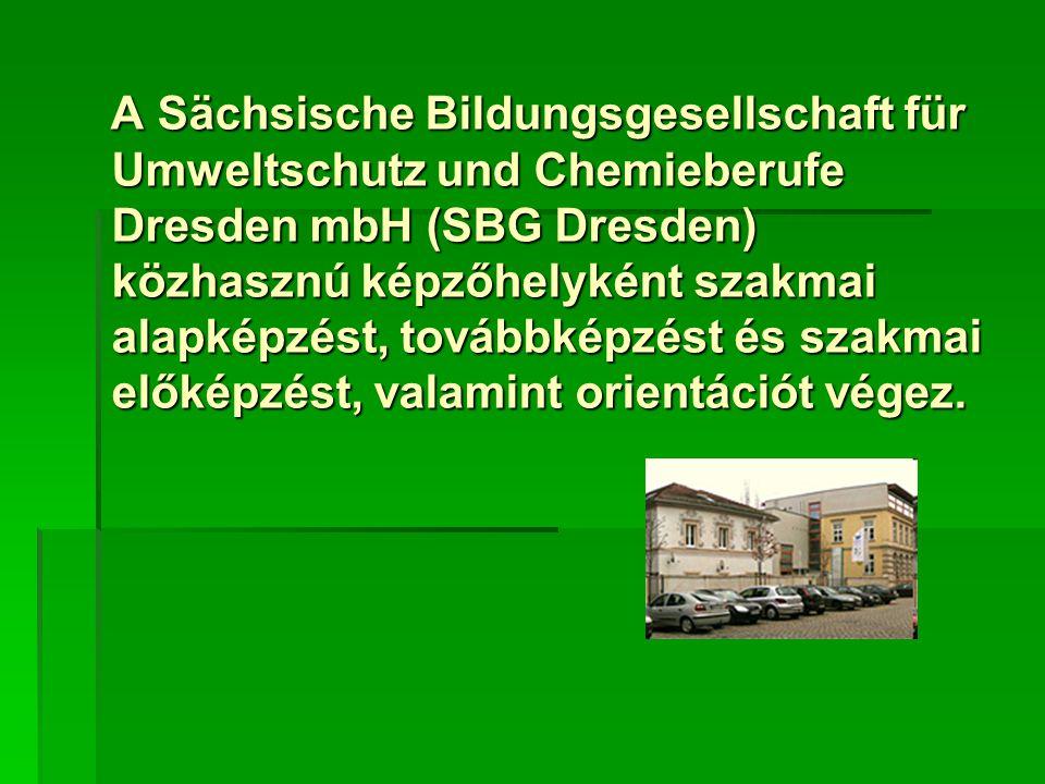 A Sächsische Bildungsgesellschaft für Umweltschutz und Chemieberufe Dresden mbH (SBG Dresden) közhasznú képzőhelyként szakmai alapképzést, továbbképzést és szakmai előképzést, valamint orientációt végez.