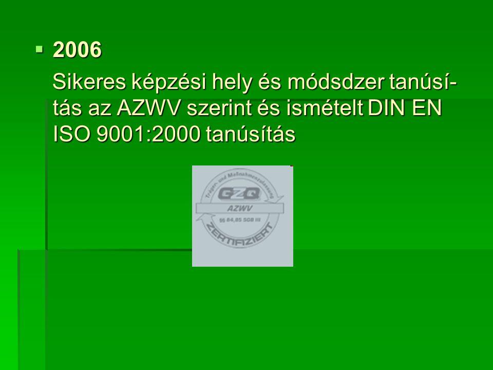  2006 Sikeres képzési hely és módsdzer tanúsí- tás az AZWV szerint és ismételt DIN EN ISO 9001:2000 tanúsítás Sikeres képzési hely és módsdzer tanúsí- tás az AZWV szerint és ismételt DIN EN ISO 9001:2000 tanúsítás