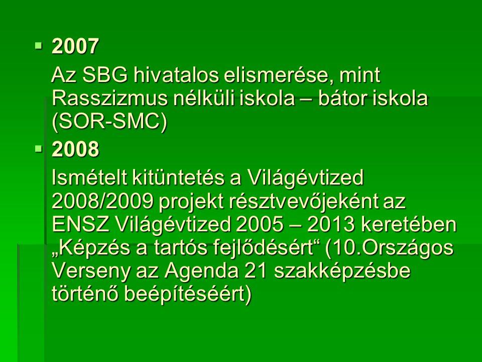 """ 2007 Az SBG hivatalos elismerése, mint Rasszizmus nélküli iskola – bátor iskola (SOR-SMC) Az SBG hivatalos elismerése, mint Rasszizmus nélküli iskola – bátor iskola (SOR-SMC)  2008 Ismételt kitüntetés a Világévtized 2008/2009 projekt résztvevőjeként az ENSZ Világévtized 2005 – 2013 keretében """"Képzés a tartós fejlődésért (10.Országos Verseny az Agenda 21 szakképzésbe történő beépítéséért) Ismételt kitüntetés a Világévtized 2008/2009 projekt résztvevőjeként az ENSZ Világévtized 2005 – 2013 keretében """"Képzés a tartós fejlődésért (10.Országos Verseny az Agenda 21 szakképzésbe történő beépítéséért)"""