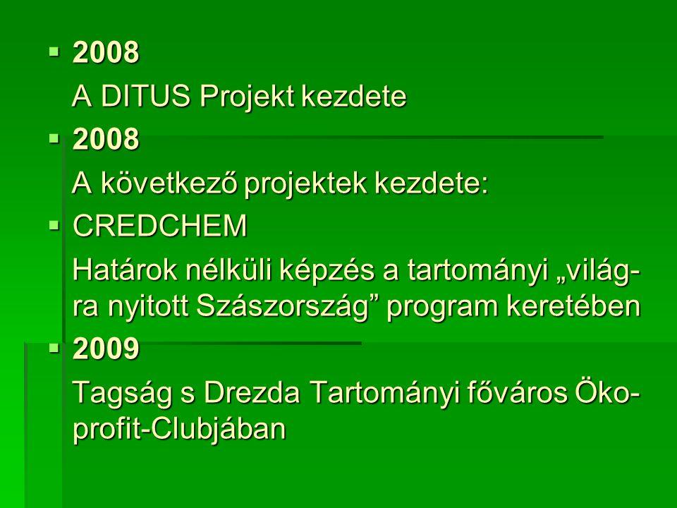 """ 2008 A DITUS Projekt kezdete A DITUS Projekt kezdete  2008 A következő projektek kezdete: A következő projektek kezdete:  CREDCHEM Határok nélküli képzés a tartományi """"világ- ra nyitott Szászország program keretében Határok nélküli képzés a tartományi """"világ- ra nyitott Szászország program keretében  2009 Tagság s Drezda Tartományi főváros Öko- profit-Clubjában Tagság s Drezda Tartományi főváros Öko- profit-Clubjában"""