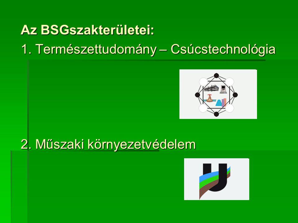 Az BSGszakterületei: 1. Természettudomány – Csúcstechnológia 2. Műszaki környezetvédelem