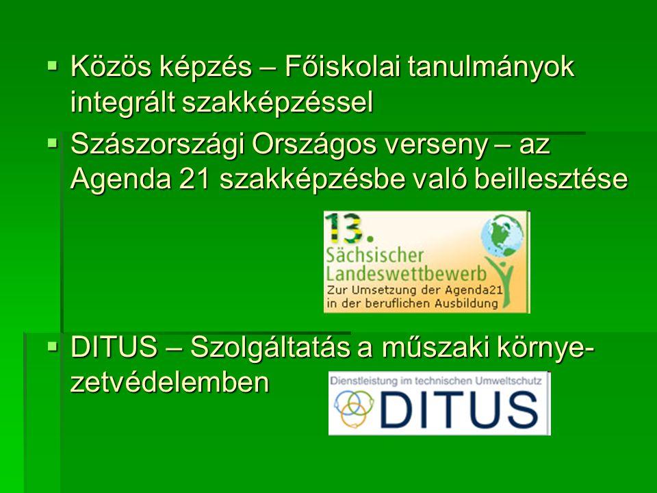  Közös képzés – Főiskolai tanulmányok integrált szakképzéssel  Szászországi Országos verseny – az Agenda 21 szakképzésbe való beillesztése  DITUS – Szolgáltatás a műszaki környe- zetvédelemben