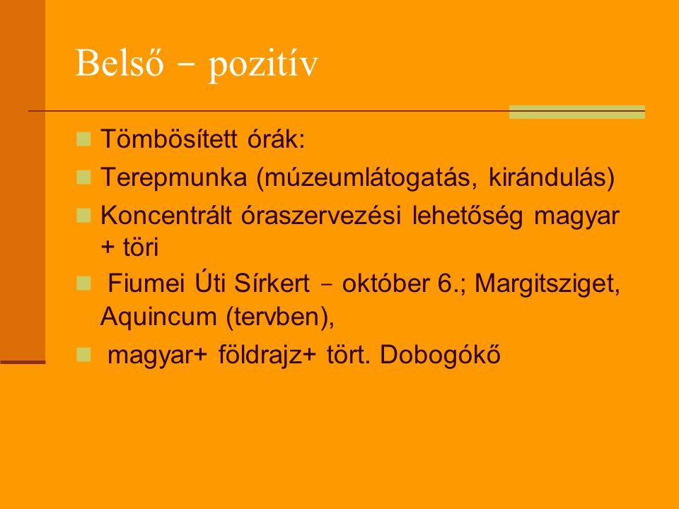 Belső - pozitív Tömbösített órák: Terepmunka (múzeumlátogatás, kirándulás) Koncentrált óraszervezési lehetőség magyar + töri Fiumei Úti Sírkert - október 6.; Margitsziget, Aquincum (tervben), magyar+ földrajz+ tört.