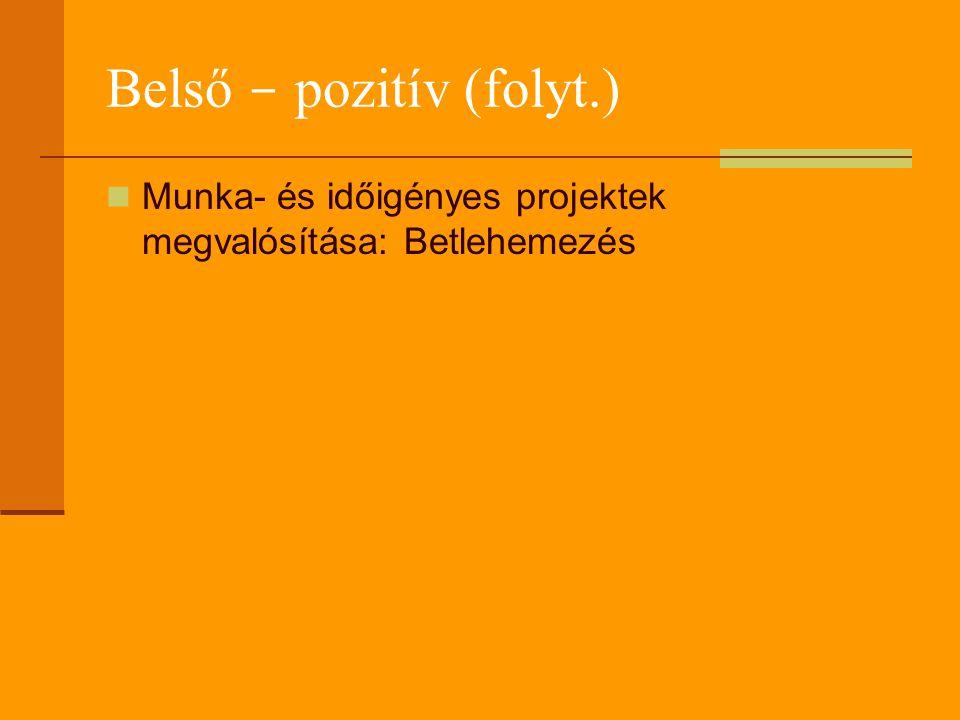 Belső - pozitív (folyt.) Munka- és időigényes projektek megvalósítása: Betlehemezés