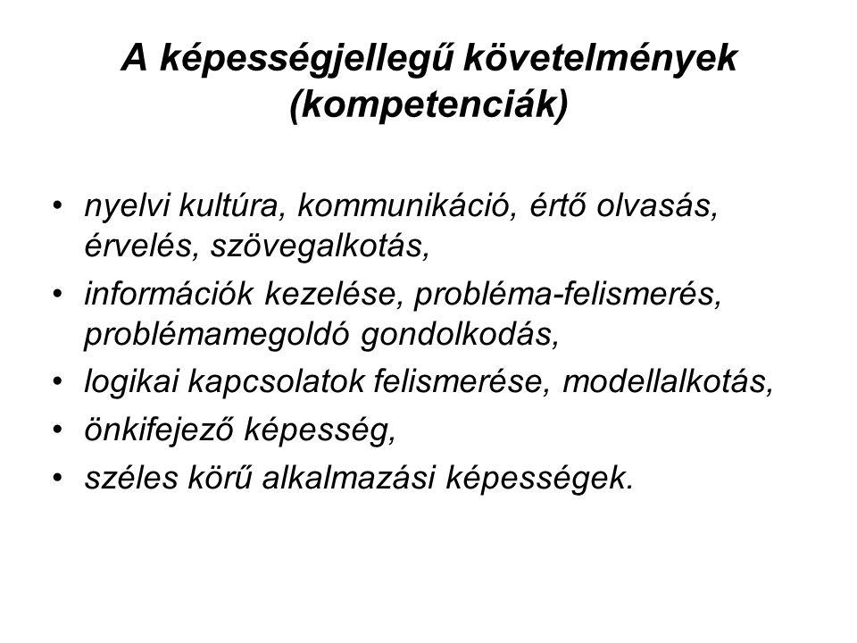 A képességjellegű követelmények (kompetenciák) nyelvi kultúra, kommunikáció, értő olvasás, érvelés, szövegalkotás, információk kezelése, probléma-feli